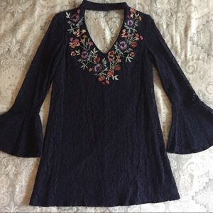 Embroidered lace navy dress
